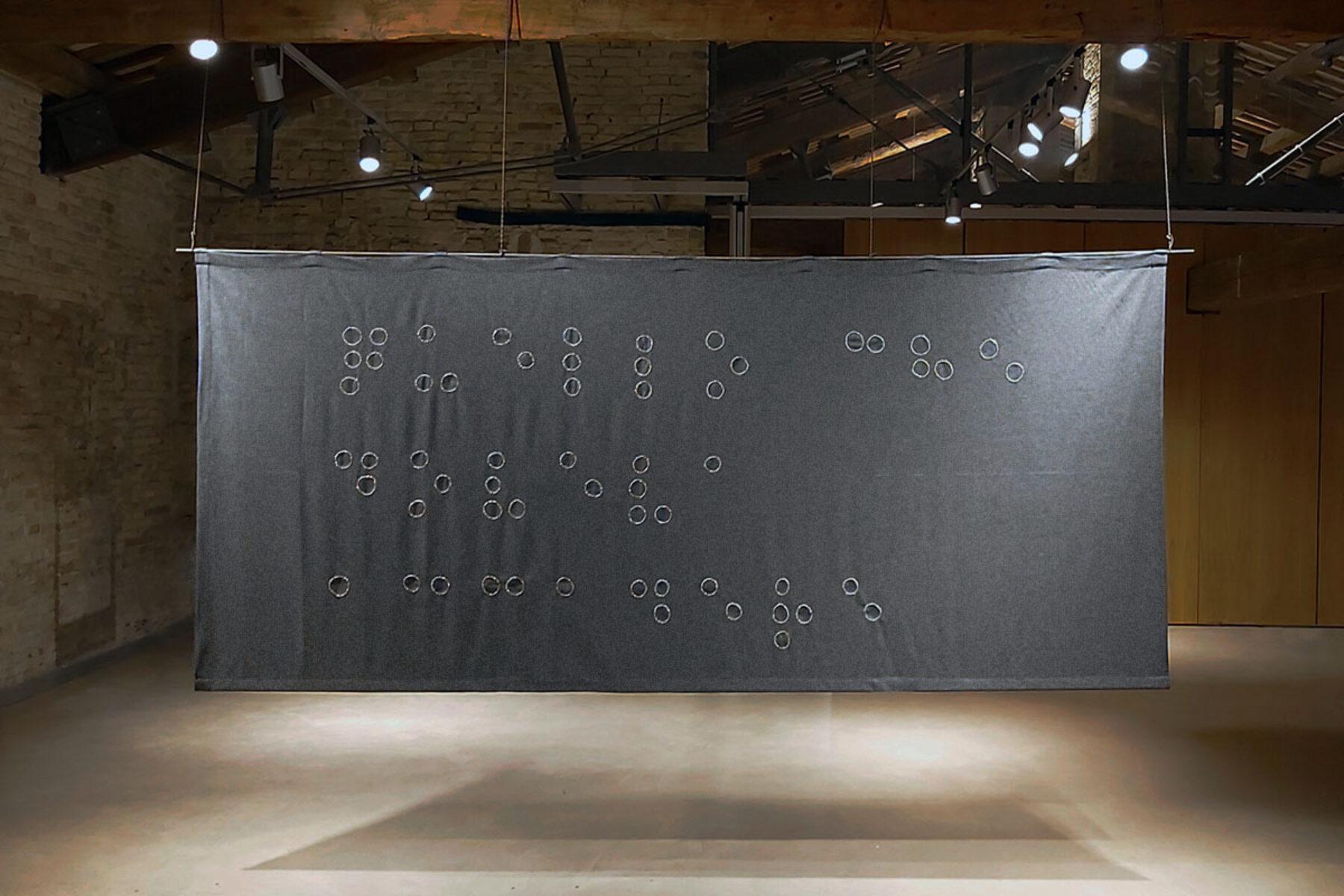 Giovanni Gaggia, Quello che doveva accadere, 2020, 150 x 334 cm, Museo Omero, Ancona, ph. A. Varicchio
