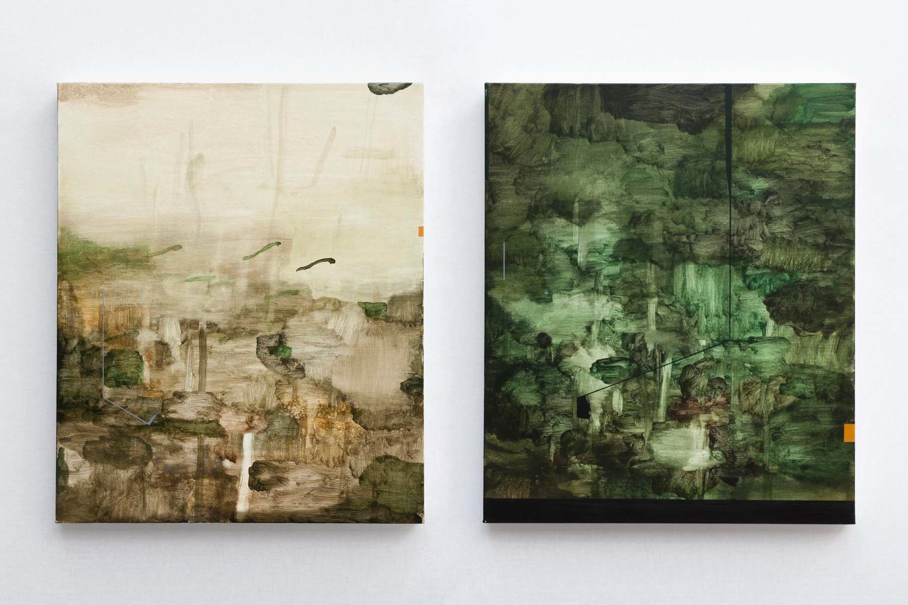 Mirko Baricchi, Selva #9 and #10, 2018, oil on canvas, 60 x 50 cm each