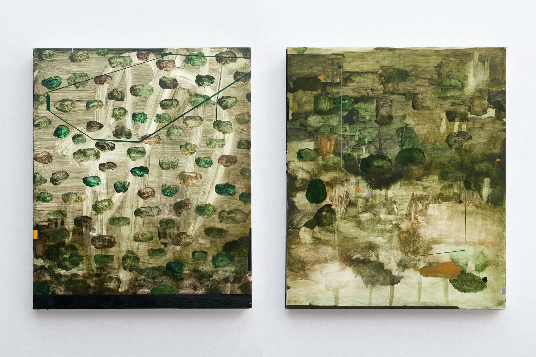 Mirko Baricchi, Selva #11 and #12, 2018, oil on canvas, 60 x 50 cm each