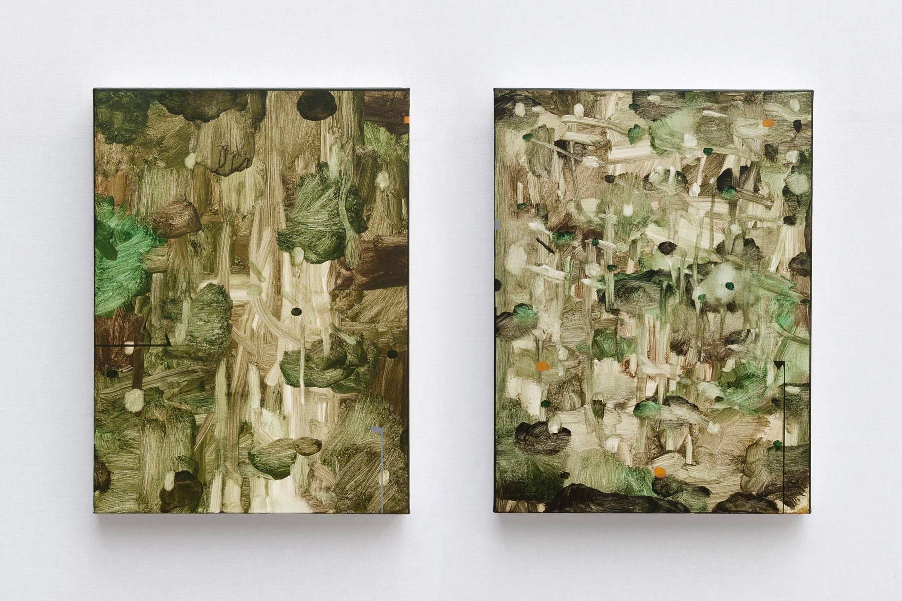 Mirko Baricchi, Selva #16 and #17, 2018, oil on canvas, 40 x 80 cm each