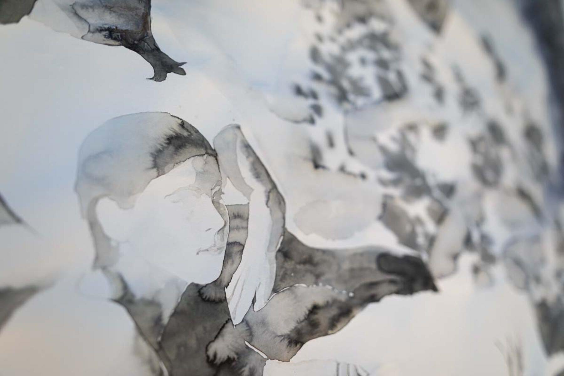 Greta Ferretti, Stanza dei giochi (det.), 2021, ink on paper, 150 x 172 cm, ph. Studio Mion