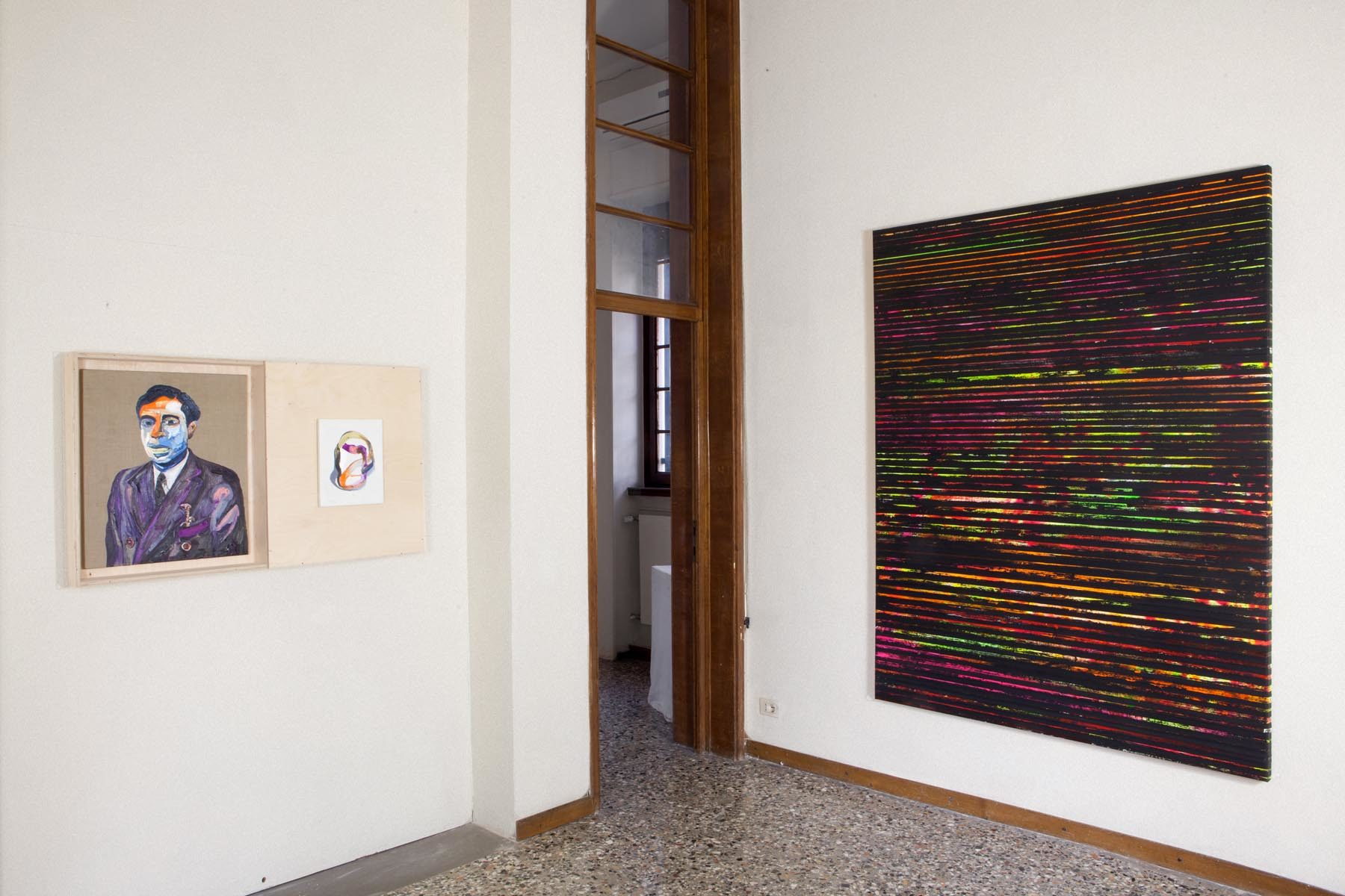Graffiare il presente, vista della mostra (M. Fato, P. Bini), Casa Testori, Novate Milanese