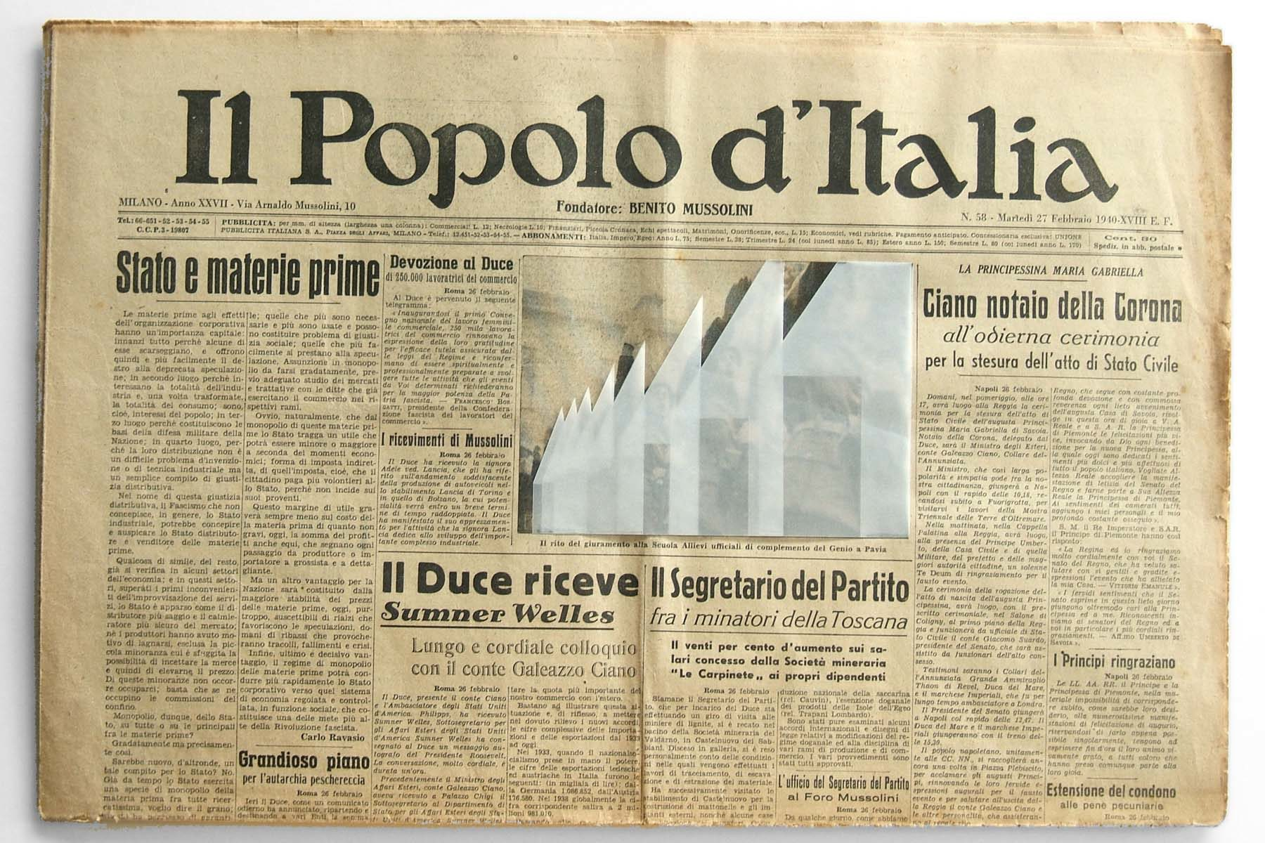 G. Morbin, Il Popolo d'Italia, 2007, collage on vintage newspaper, 33 x 47 cm