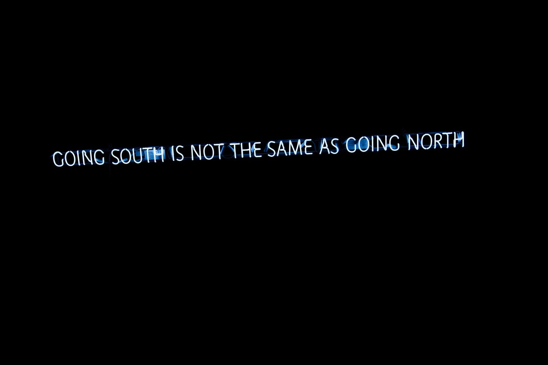 Marco Godinho, Going south is not the same as going north _ Going north is not the same as going south, 2017, neon diptych, each 15 x 220 cm