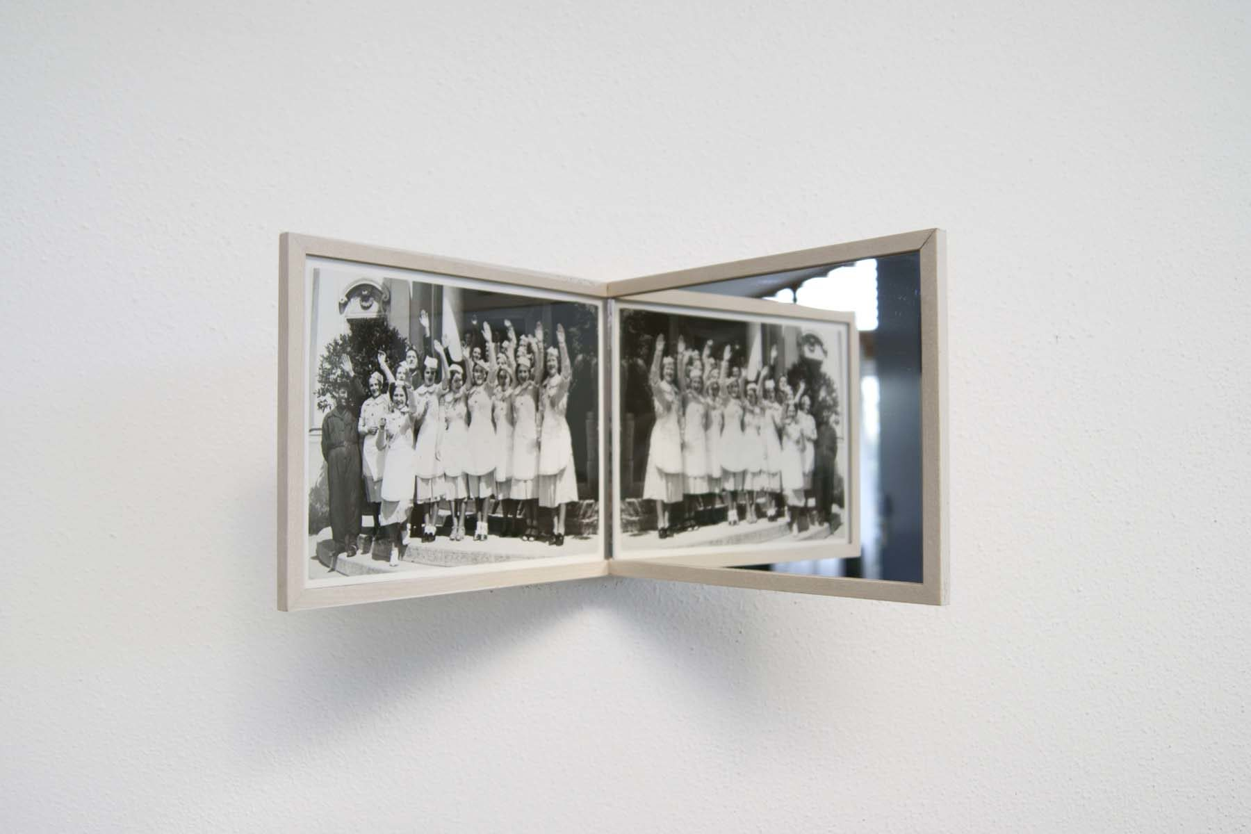 G. Morbin, On-Off, 2014, vintage photo, mirror, 17 x 26.2 x 14.8 cm