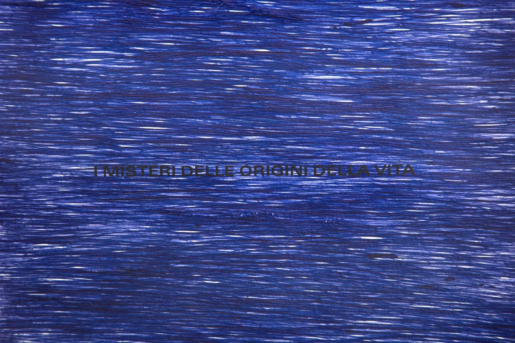 Marco Godinho, I misteri delle origini della vita, 2017, blue ballpoint on torn book page, 27.3 x 20.5 cm