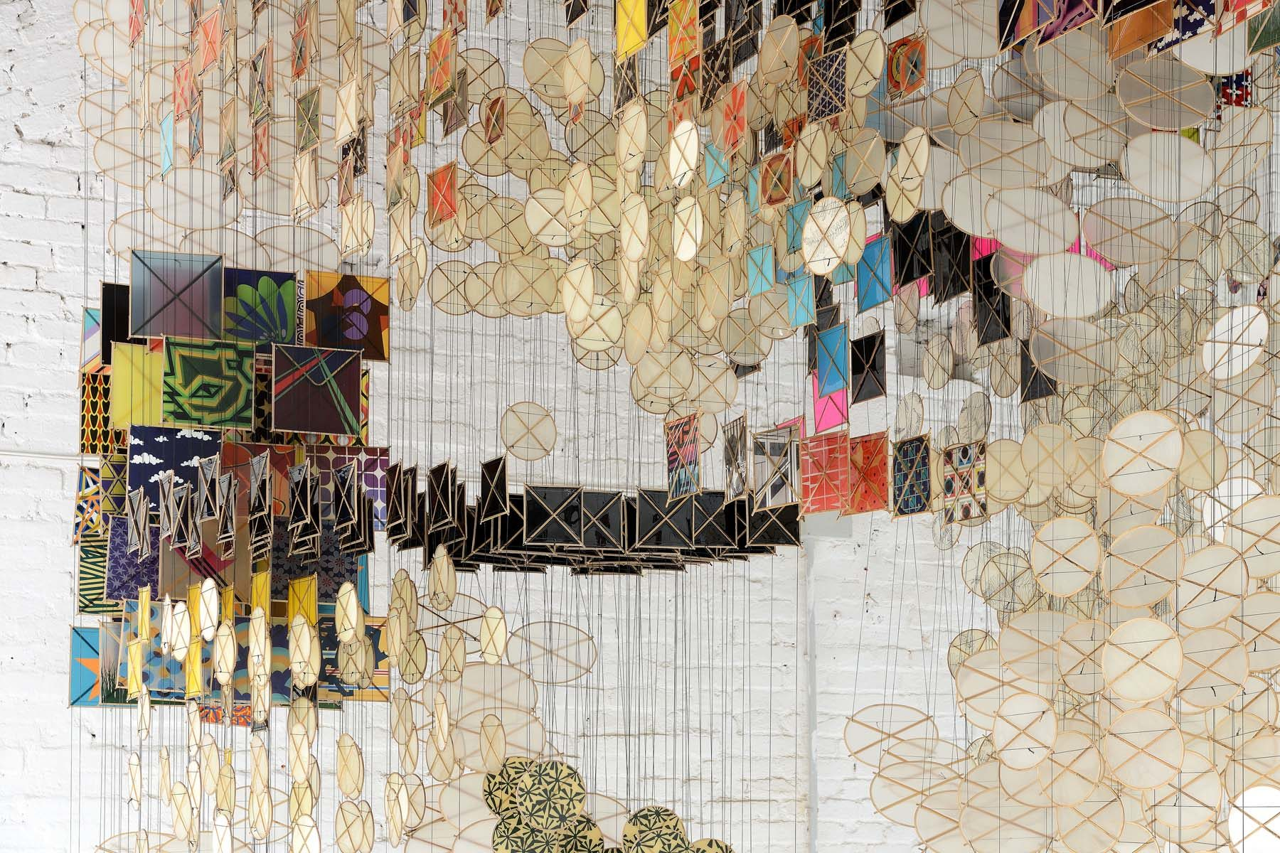 Jacob Hashimoto, The Dark Isn't The Thing to Worry About, 2017-2018, mixed media, installation, courtesy of Studio la Città, Verona, ph. M. A. Sereni