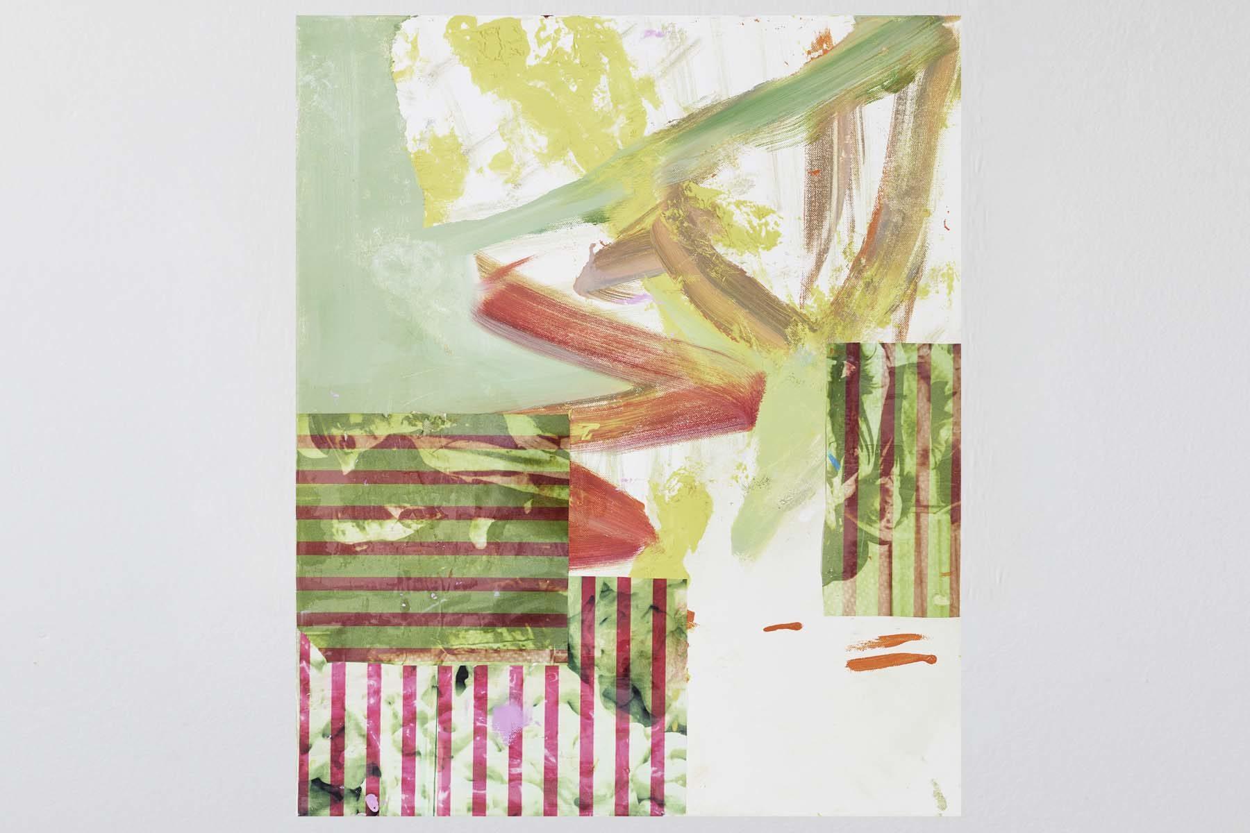 Andrea Plum, The locust, 2013, oil and paper on linen, 60 x 50 cm