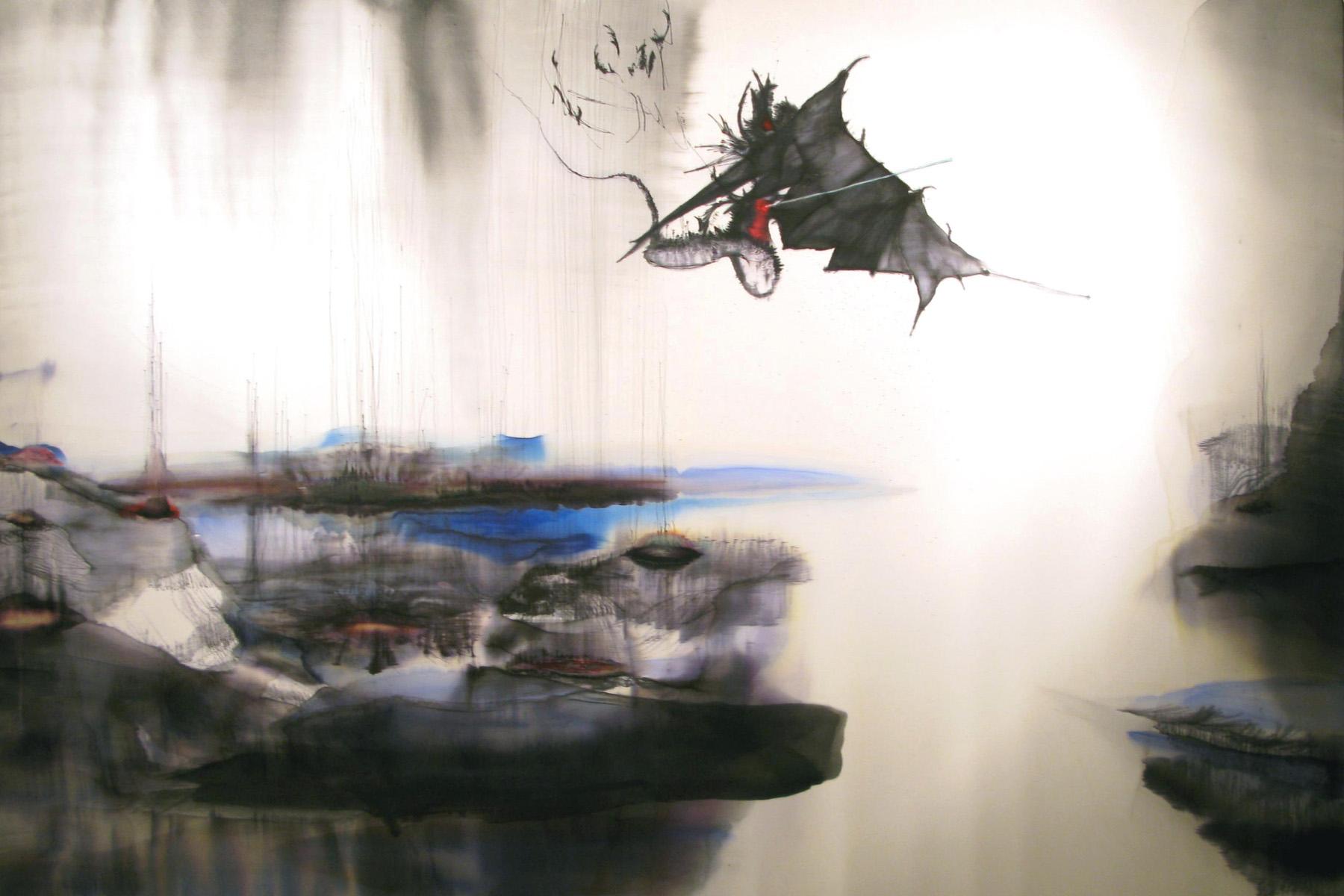 Daniele Giunta, Il drago di Giorgio, 2008, inchiostri su seta, cm 130x180, courtesy of De Faveri Arte, Feltre