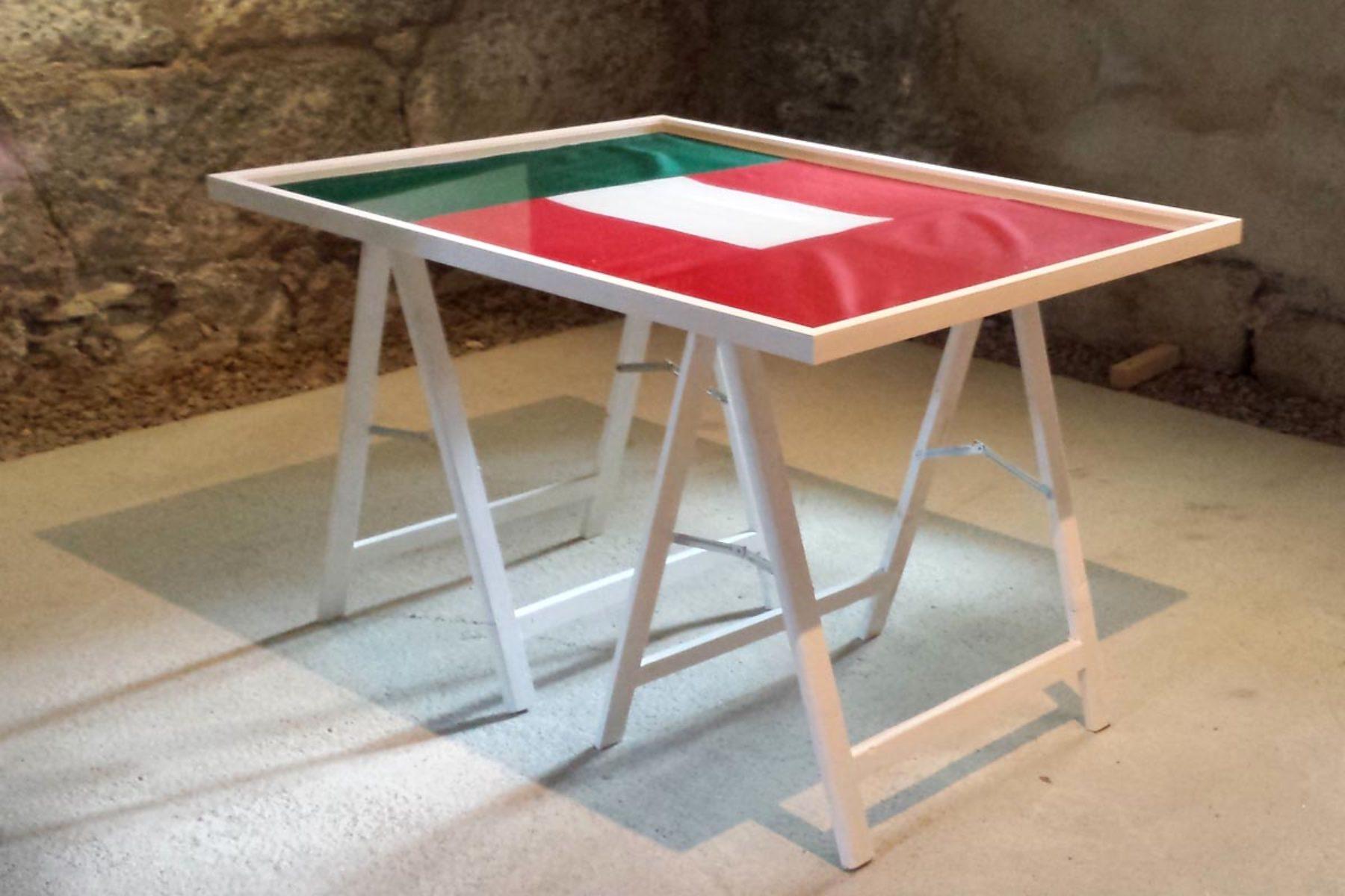 F. Lanaro, IT_A, 2013, sewn flags, frame, 70 x 100 cm