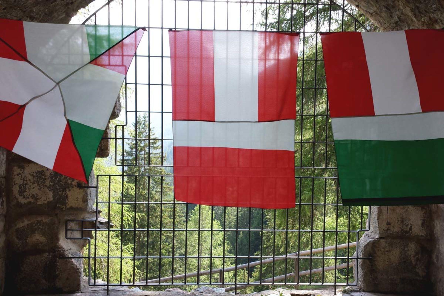 F. Lanaro, IT_A, 2013, sewn flags, installation view, 2