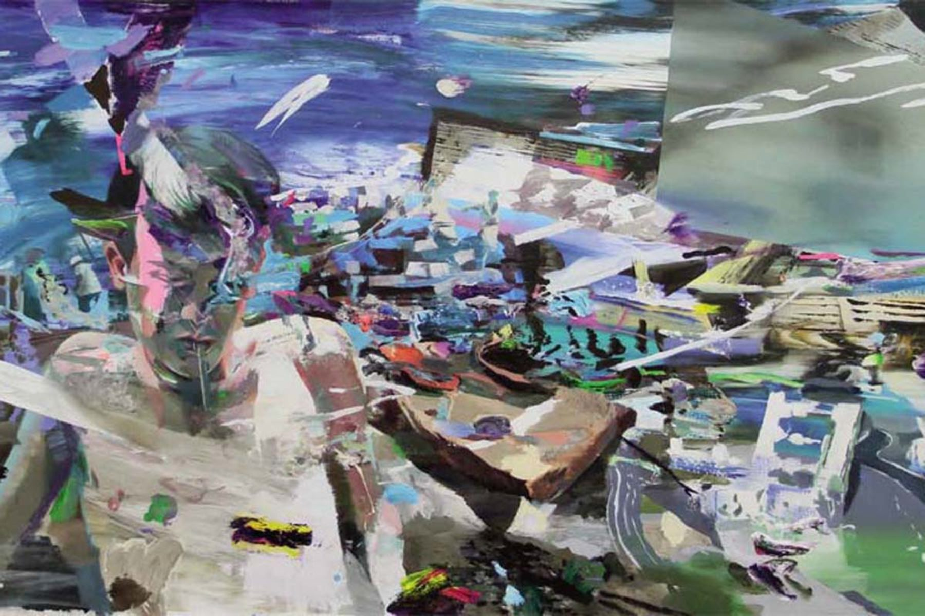 Giuseppe Gonella, Gas station, 2012-13, acrylic on canvas, 147 x 270 cm