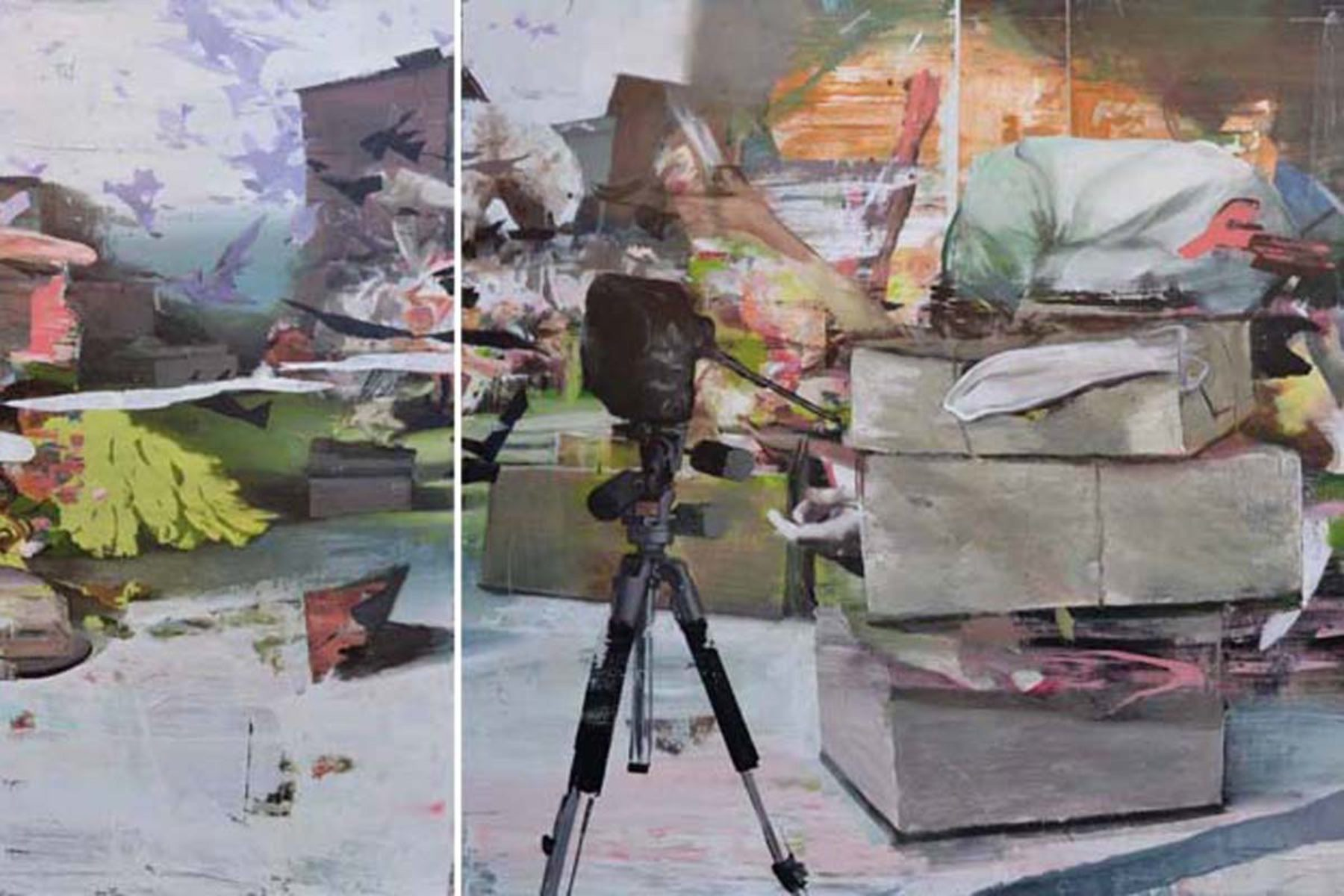 Giuseppe Gonella, The paradox, 2010, acrylic on canvas, 150 x 150 cm, 150 x 200 cm (diptych)