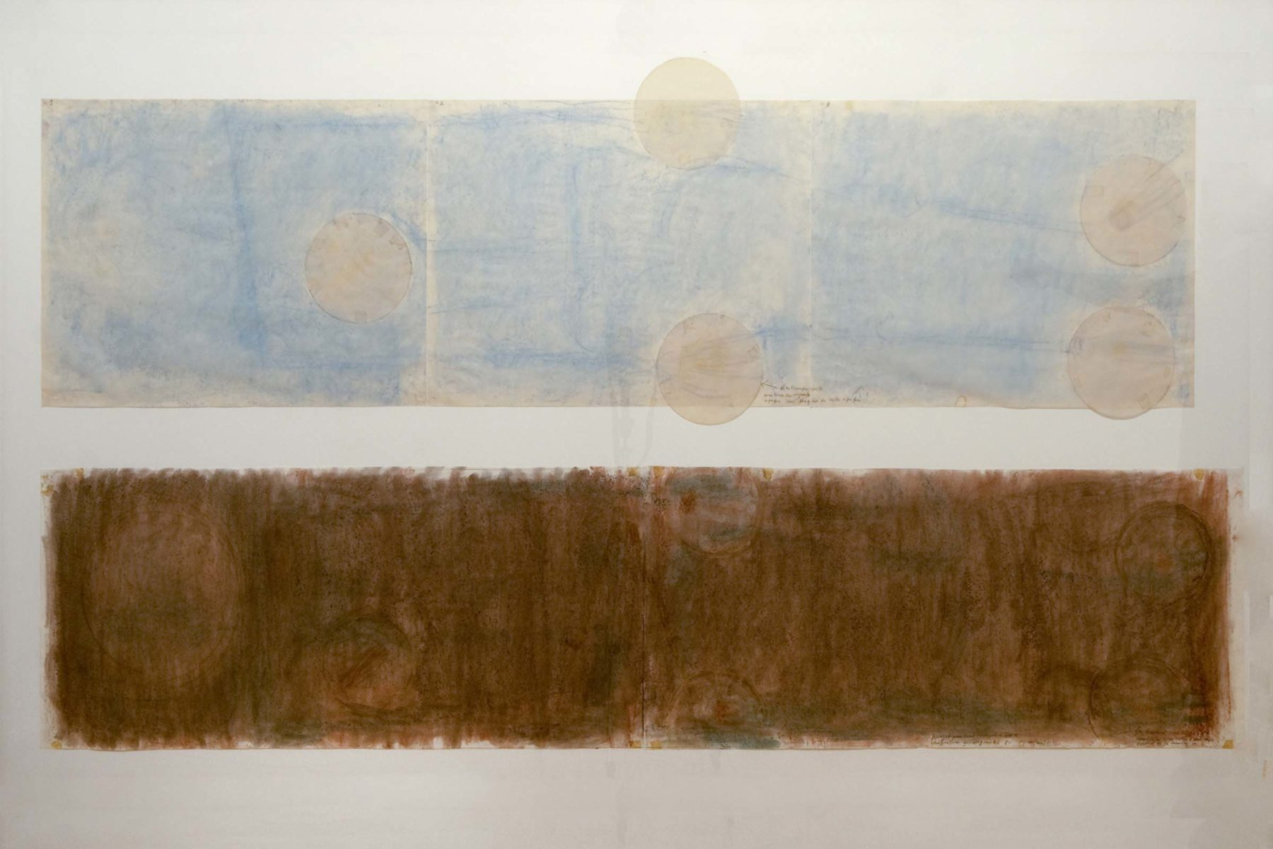 Gina Pane, Project for San Francesco d'Assisi, 1985, pastel and collage on paper, 122×211 cm