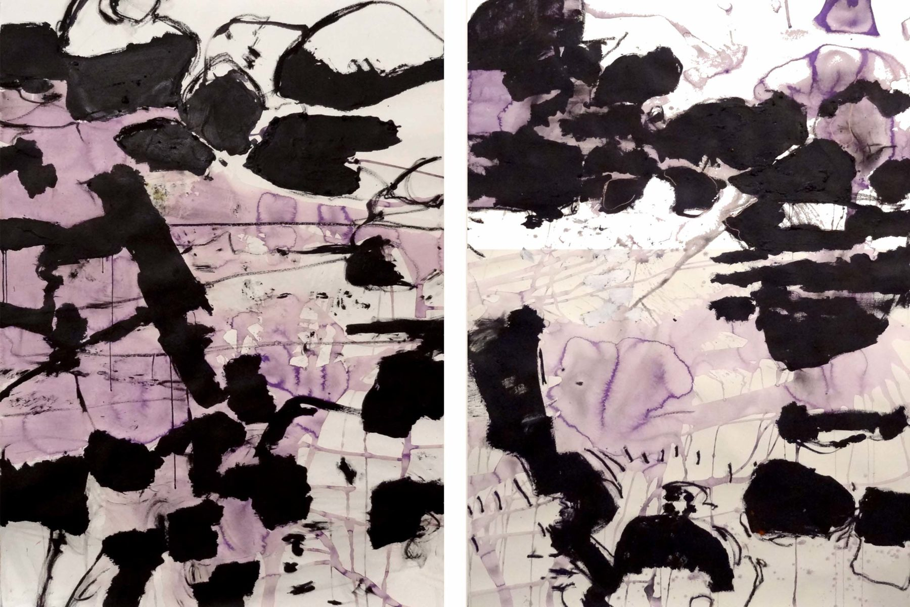 Giovanni Frangi, Japan, 2012, primal and pigment powder on paper, 125 x 210 cm each