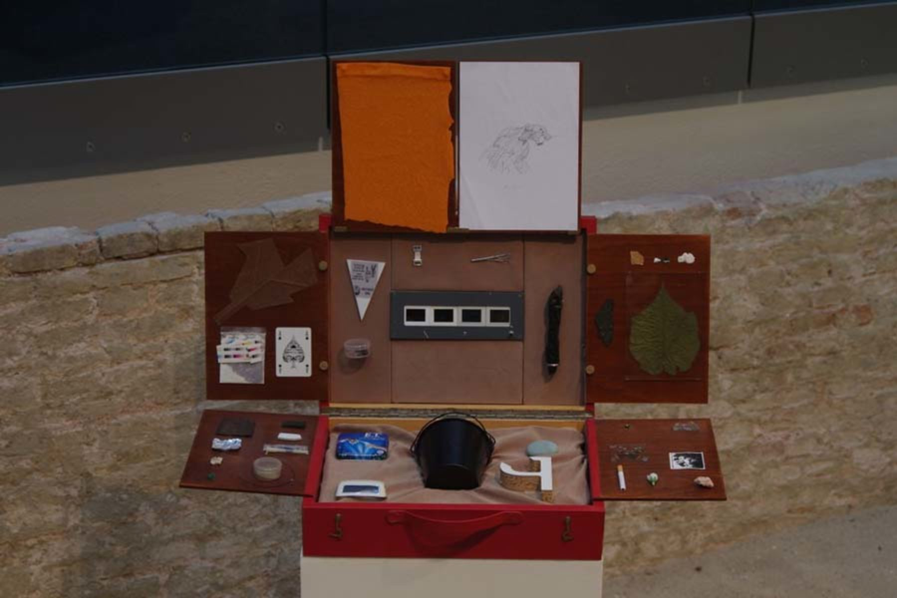 I. Moudov, Fragments #5, 2002-10, hand-made suitcase, stolen fragments from artworks, 6