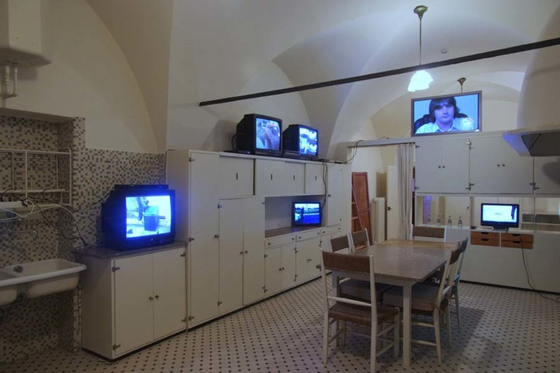 I. Moudov, Old Videos on Old Monitors, 2013, installation, videos, TV, dvd players 3