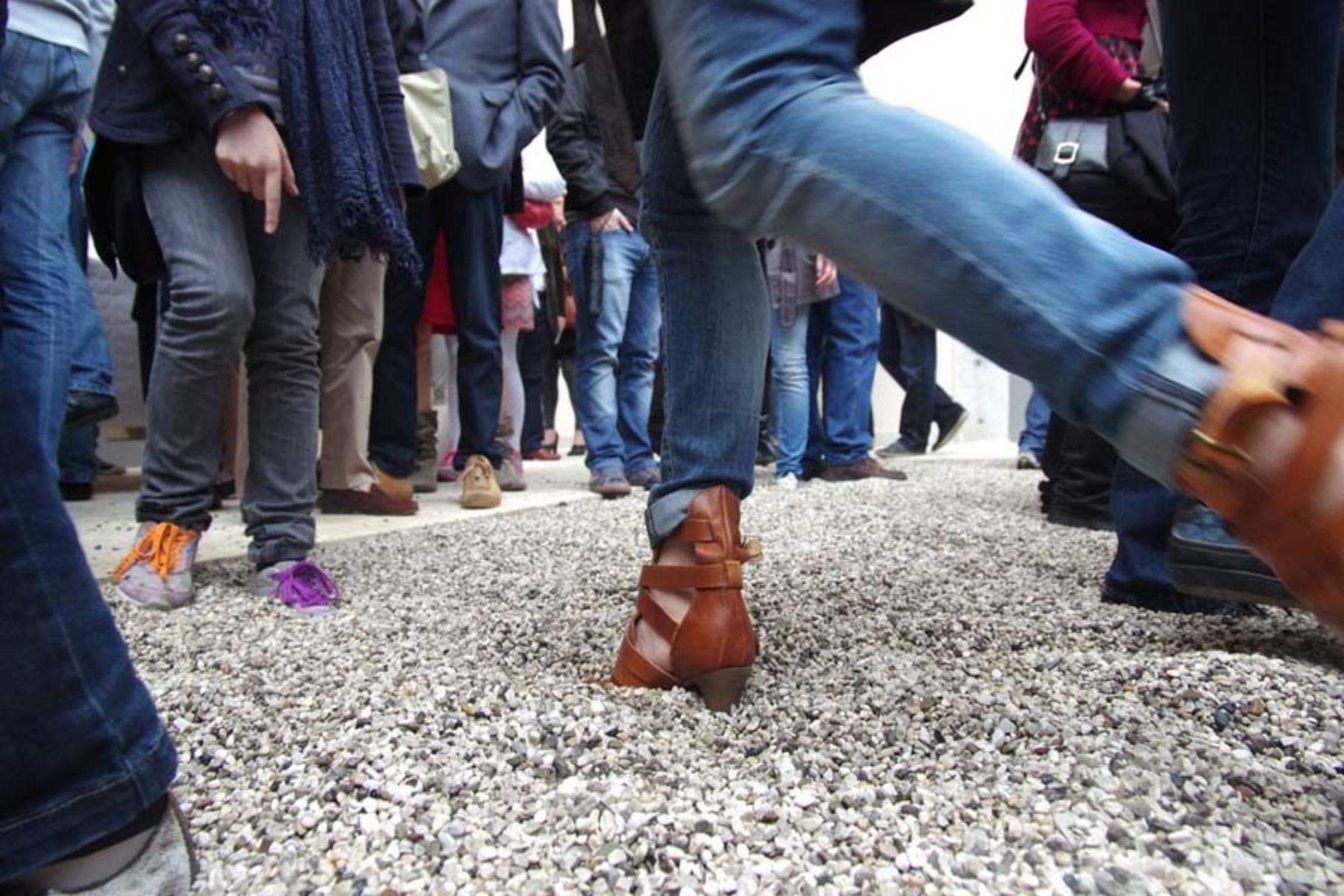 Ivan Moudov, Stones, 2013, stones, foam rubber, site specific installation, 19