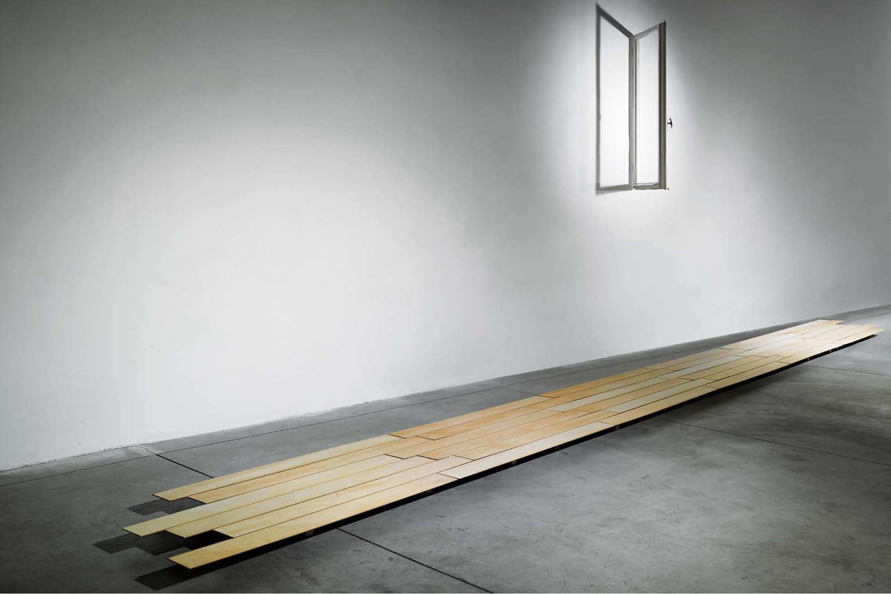 Jacopo Mazzonelli, (I play) lonely everyday, 2010, wood floor, window, sound system, viariable dimensions