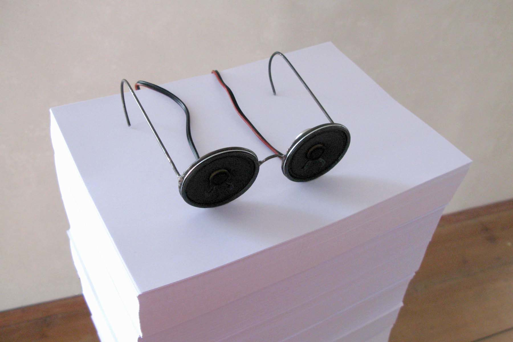 Jacopo Mazzonelli, Words, 2010, metal, loudspeakers, stereo set,  paper