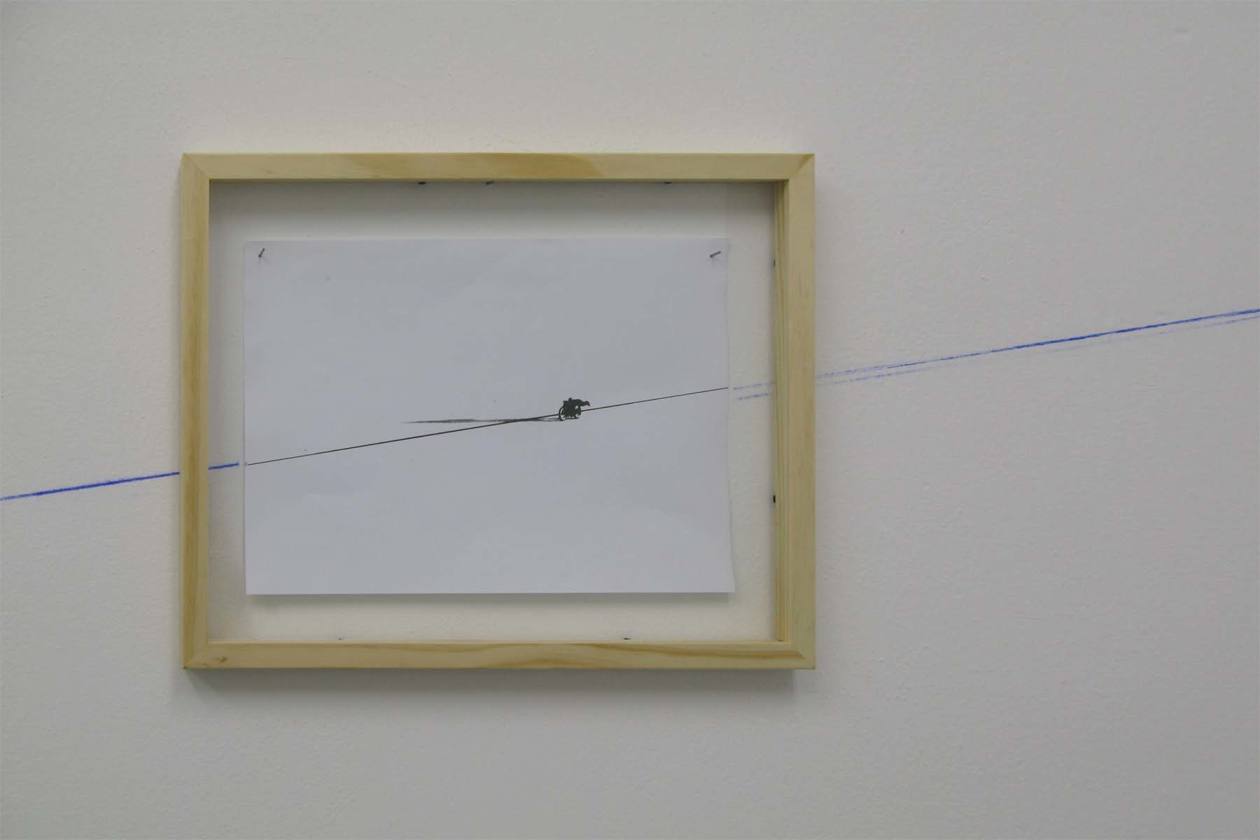 M. Bazzana, Speedline, 2009, color print, dust, wood frame, environmental dimensions