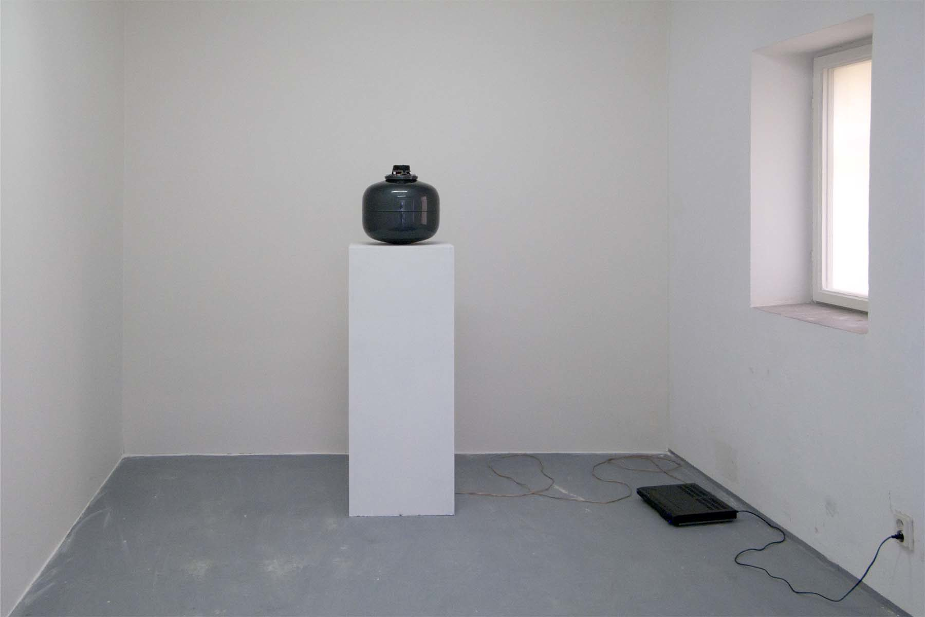 M. Spanghero, 1-10.000, 2010, metal tank, alluminium, speaker, cd player, 34 x 34 x 38 cm