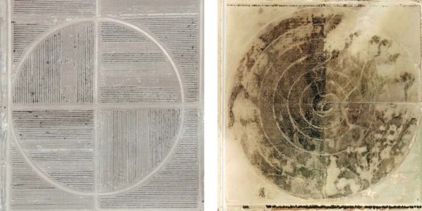 Marco Cadioli, Square with concentric circles (#81,e #87), 2013-14, digital print on paper, 30 x 30 cm each