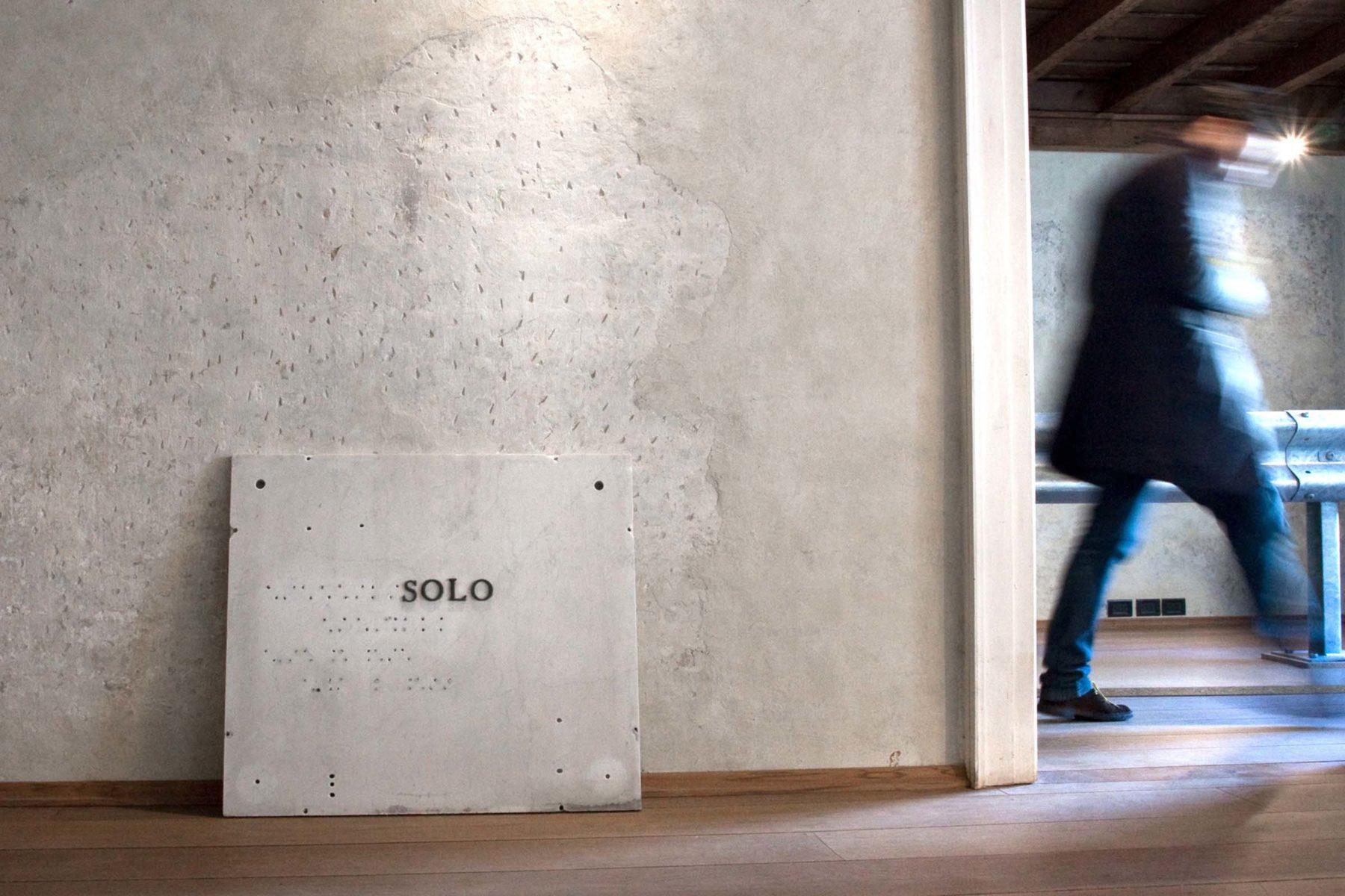 Matteo Attruia, Solo, 2011, marble, metal letters, 55 x 78 x 2 cm
