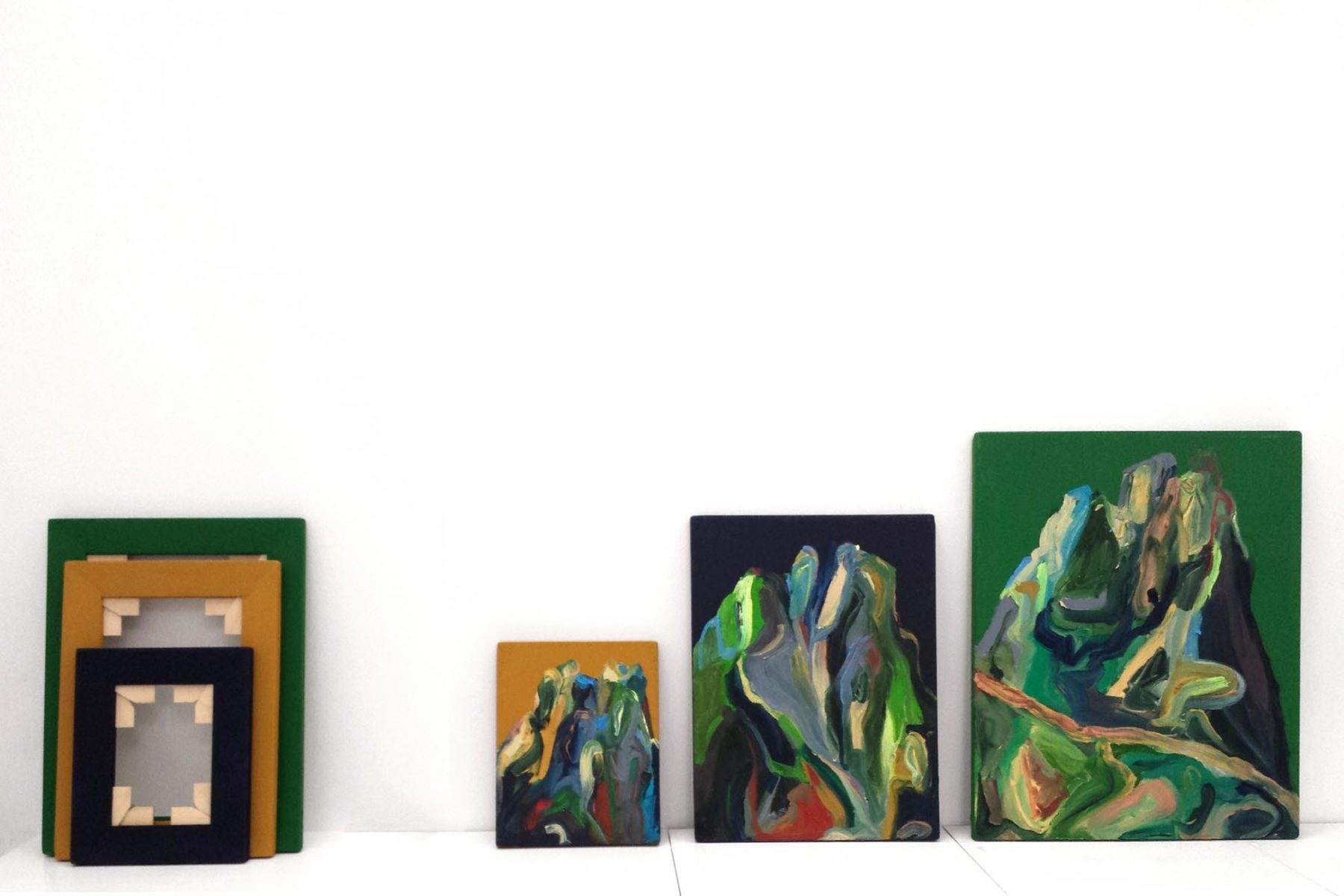 Matteo Fato, Senza titolo dal vero, 2013, oil on canvas, frames, enviromental dimensions