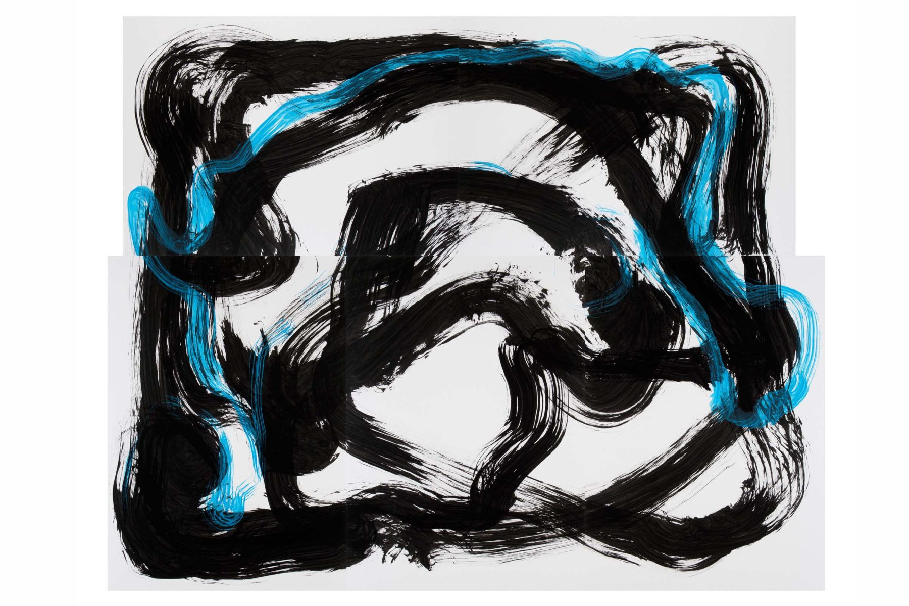 Matteo Fato, Untitle with rock, 2009, ink on paper, 219 x 175 cm
