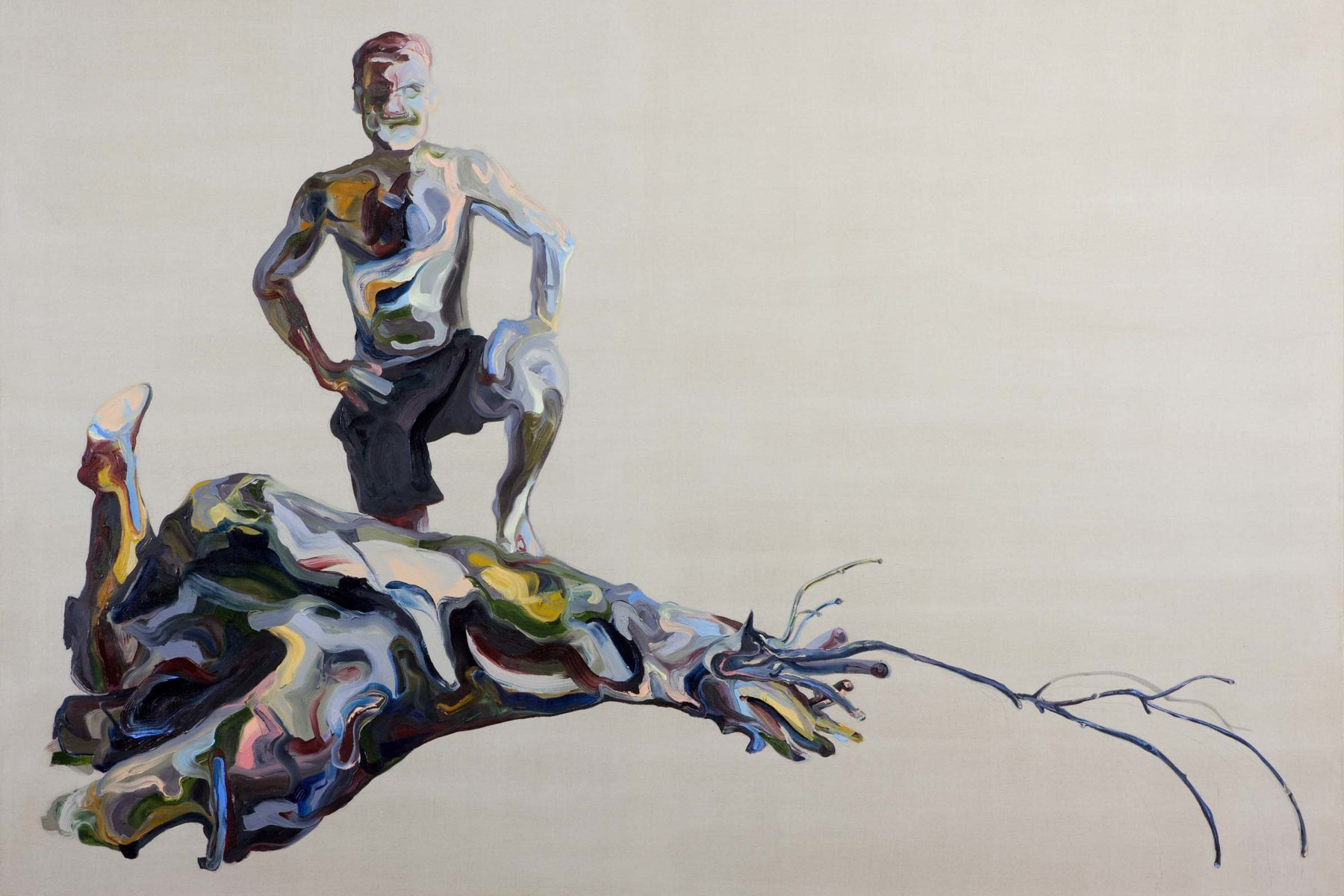 Matteo Fato, Untitled With Wood, 2012, oil on linen, 219 x 163 cm