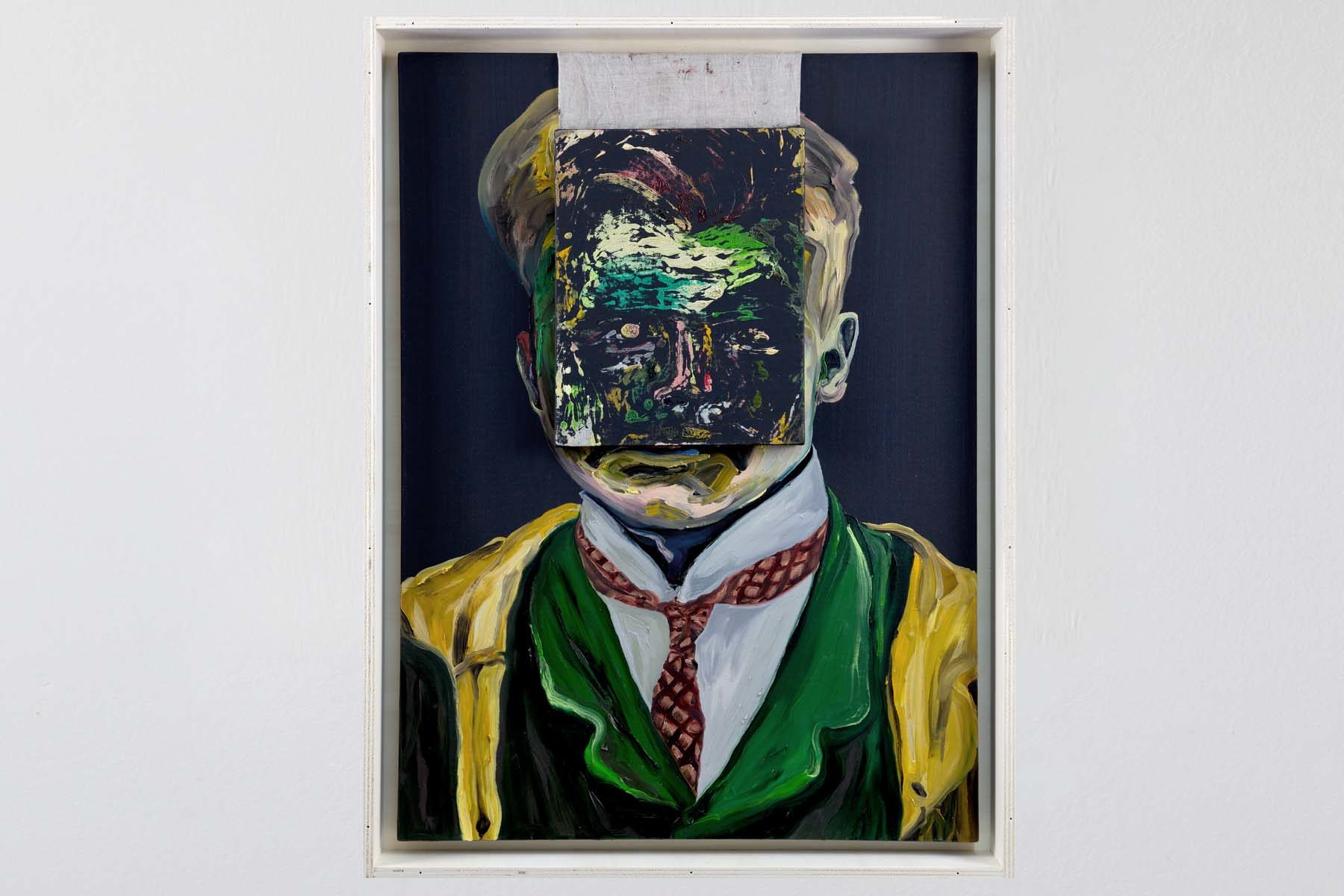 Matteo Fato, Untitled (portrait of Hermann Rorschach 1884-1922), 2013, oil on linen, case for transport in plywood, 100 x 70 cm