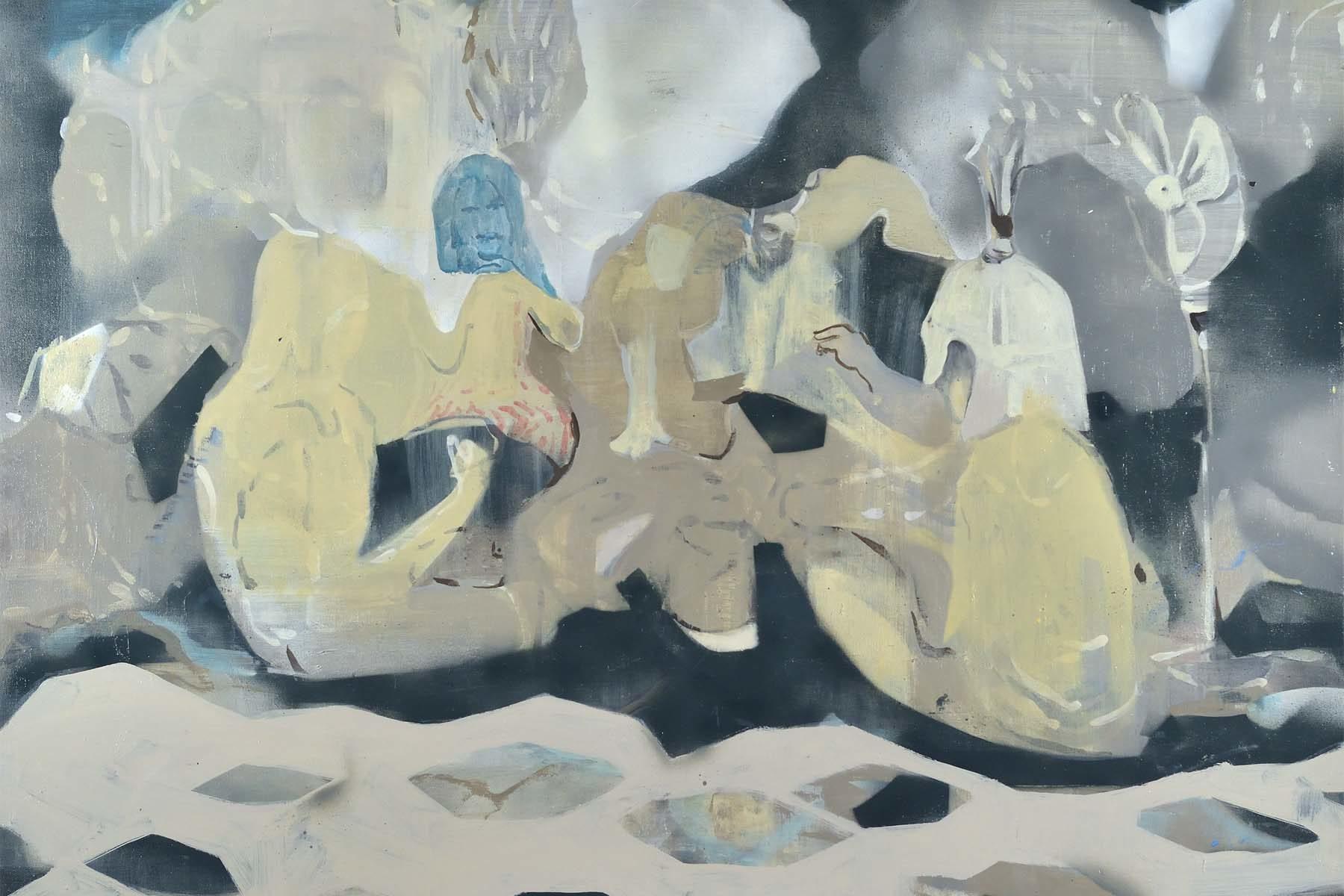 Raffaele Santillo, Notte al castello, 2016, tecnica mista su tela, 80 x 100 cm