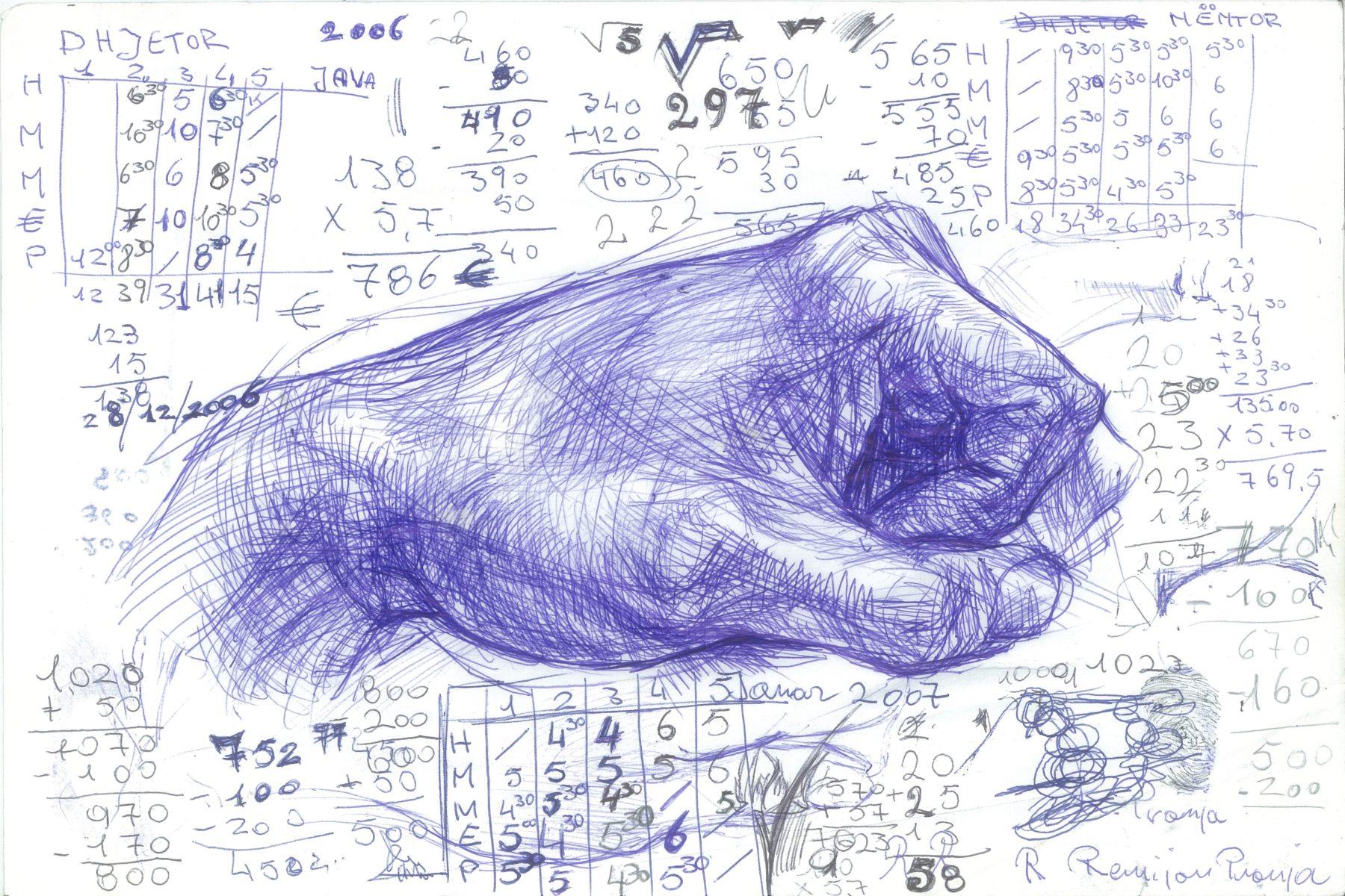 R. Pronja, Il vuoto nello spazio, 2008, ink on paper, 30×40 cm
