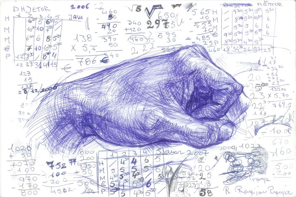 R. Pronja, Il vuoto nello spazio, 2008, ink on paper, 30x40 cm