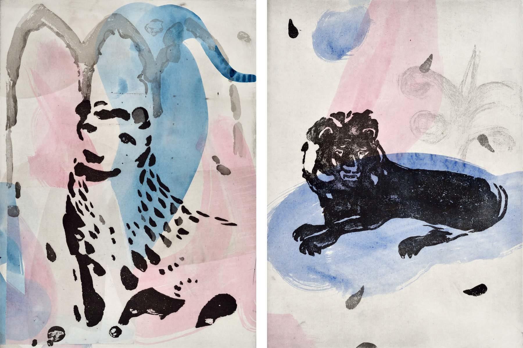 Raffaele Santillo, L'impronta del Leone (#6 e #5), 2018, maniera a zucchero e collage su carta, ciascuno 45 x 32.6 cm