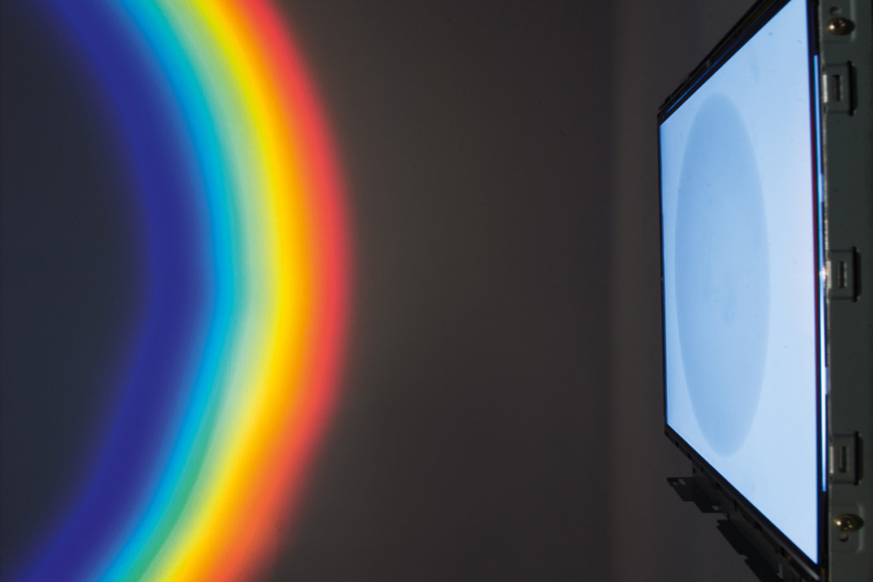 Richard Loskot, Color System, 2012, light, lcd monitor, cristal prisma, computer, polarized films, installation, i
