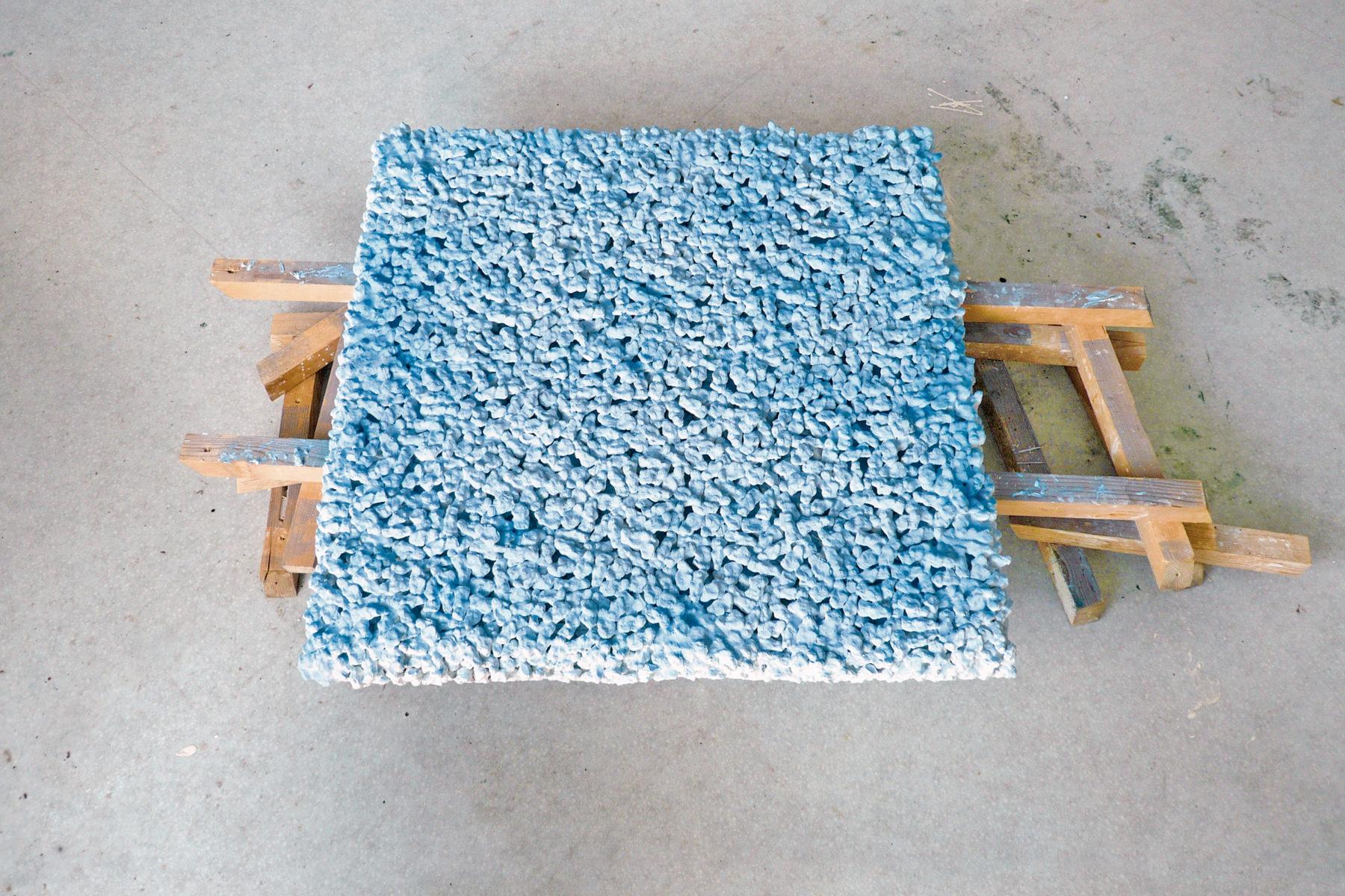 Rok Bogataj, Effigie, 2011, synthetic plaster, mixed media, 100 x 100 x 25 cm