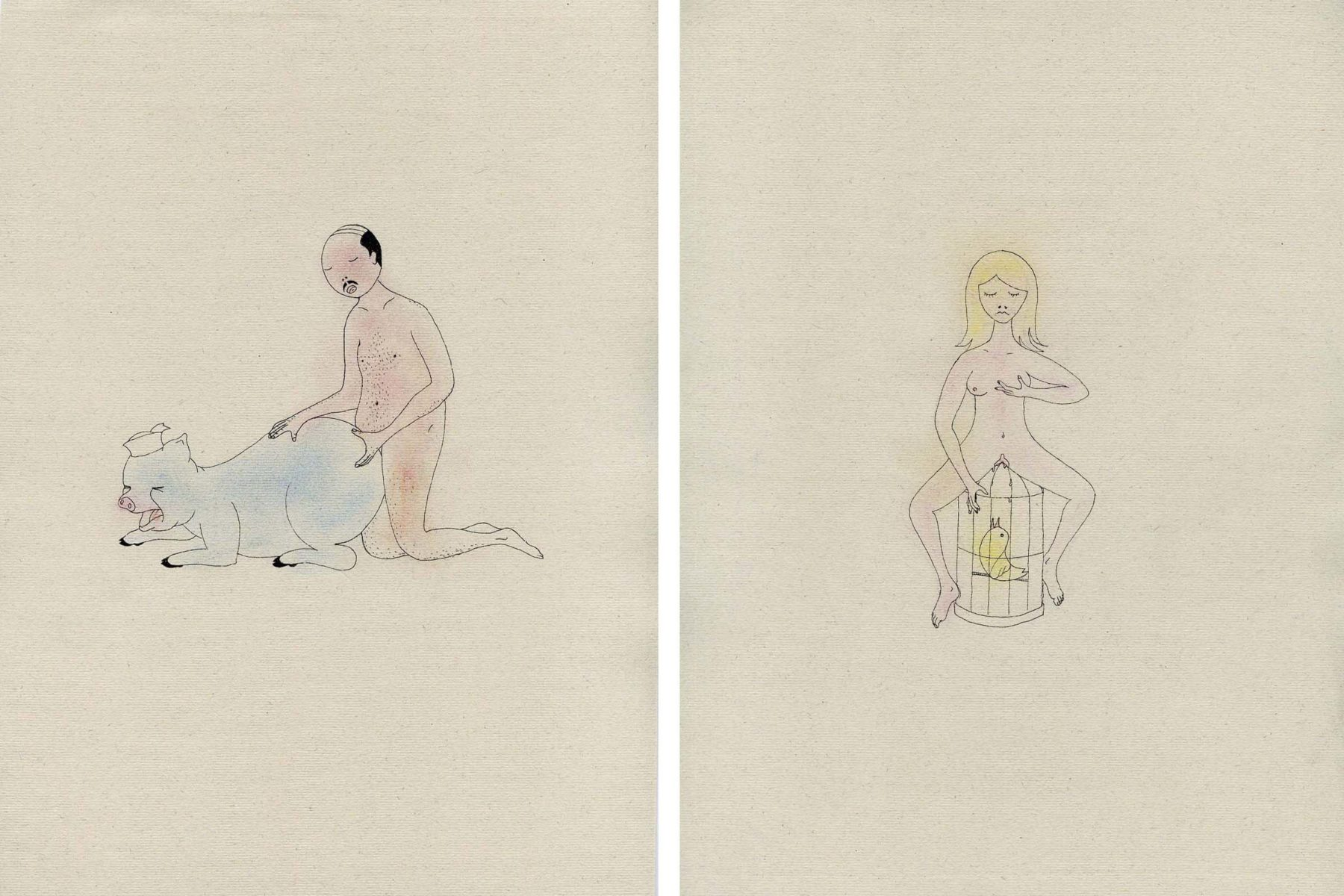 Ryts Monet, Pornografie, 2011, six drawings, ink and pastelcrayon on paper, 21.0 x 29.7 cm each