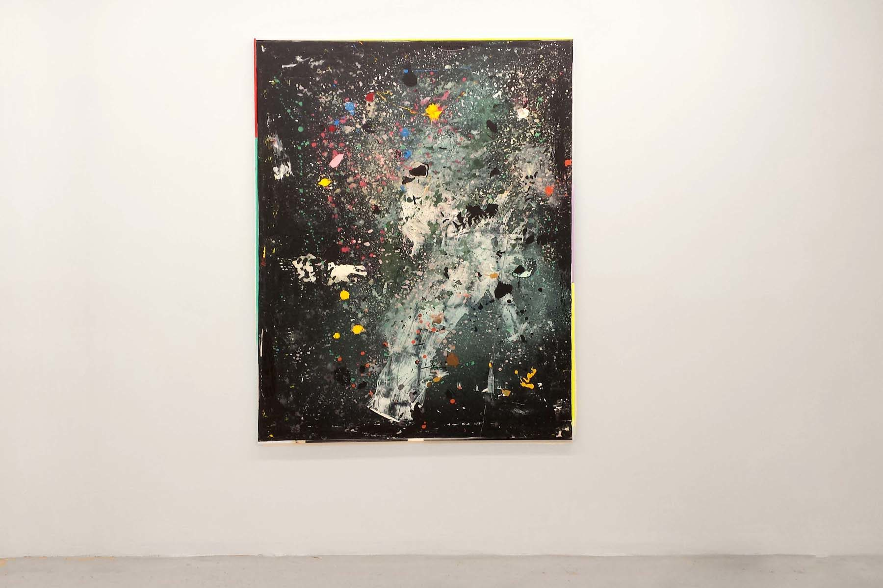 Tiziano Martini, Untitled, 2015, acrylics, monotype process, dirt of the studio and primer on cotton canvas, 161 x 121 cm