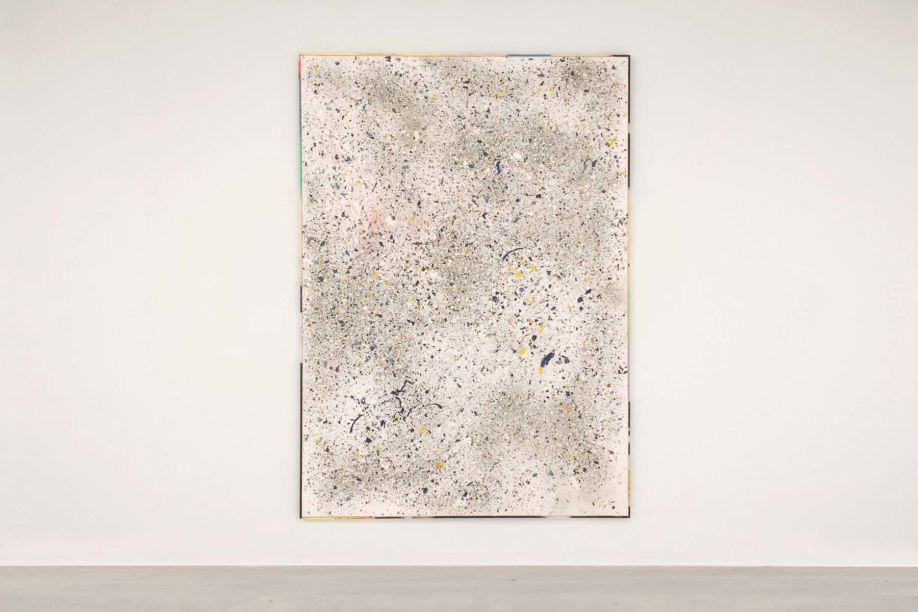 Tiziano Martini, Untitled, 2015, acrylics, sediments of monotype process, acrylic sealant and dirt of the studio on canvas, painted frame, 202 x 142 cm