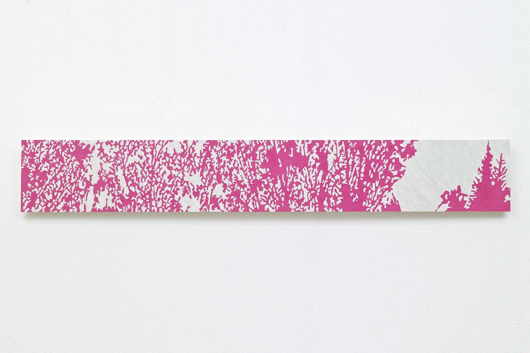 Valerio Bevilacqua, Il Fait froid le soir dans les bois, 2012, stucco veneziano su laminato plastico, 31 x 200 cm